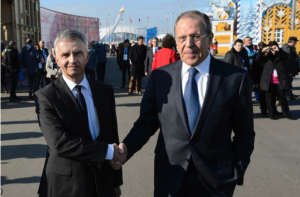Swiss Minister and former OSCE-president Burkhalter hand in hand with Russian foreign minister