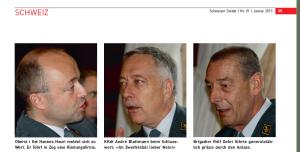 Portrait von Hannes Hauei vom Januar 2013 in der Schweizer Soldatenzeitschrift, Bildunterschrift: Oberst i Gst Hannes Hauri meldet sich zu Wort. Er führt in Zug eine Rüstungsfirma. Neben ihm der Chef der Armee André Blattmann