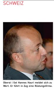 Oberst i Gst Hannes Hauri meldet sich zu Wort. Er führt in Zug eine Rüstungsfirma.