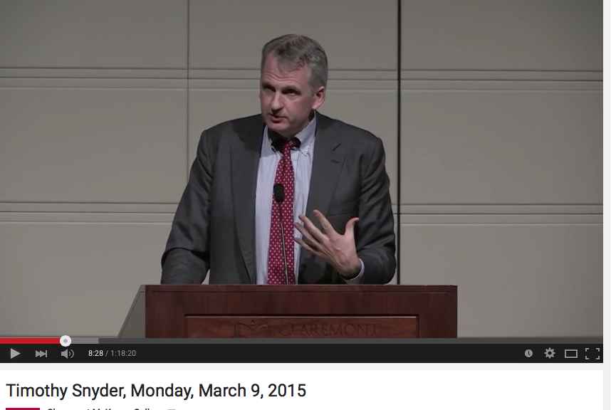 Russia and Ukraine, War and History by Timothy Snyder, 09. March 2015 at Claremont McKenna College