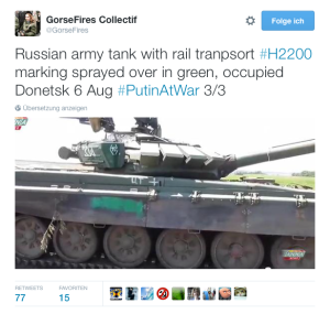 Russian army tank with rail tranpsort #H2200 marking sprayed over in green, occupied Donetsk 6 Aug #PutinAtWar