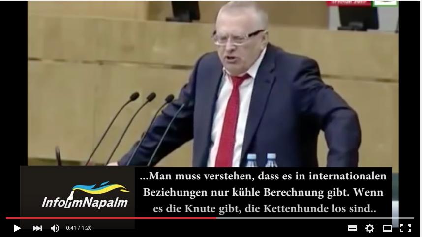 """""""Paris soll brennen! (Berlin auch...)."""" Aus einer Rede des stellvertretenden """"Parlament""""svorsitzenden der russischen Duma, Shirinowski am 20.Januar 2015."""