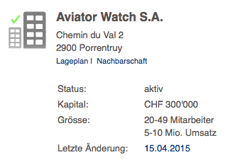 Adress of Swiss Aviator Watch S.A.