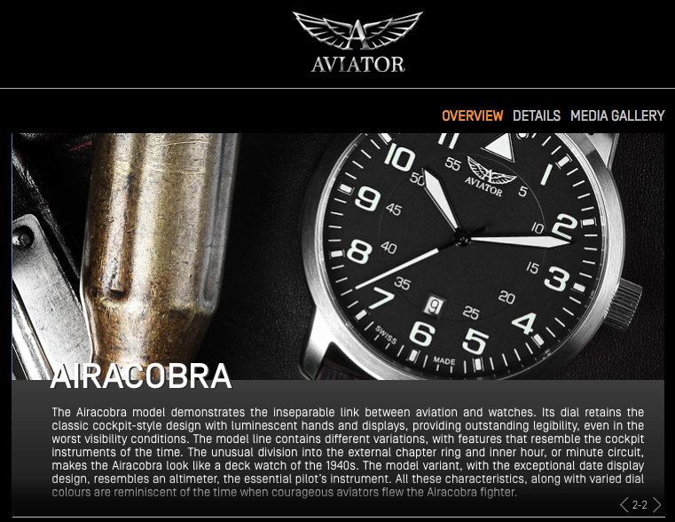 Aviator Aircobra, Source: http://aviatorwatch.ch/collections/airacobra/overview.html