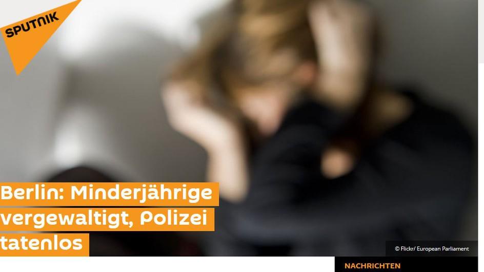 Das russische internationale Nachrichtenportal Sputnik zum «Fall Lisa»- die 13jährige Berlinerin hatte eine Vergewaltigung vorgetäuscht. SPUTNIK NEWS