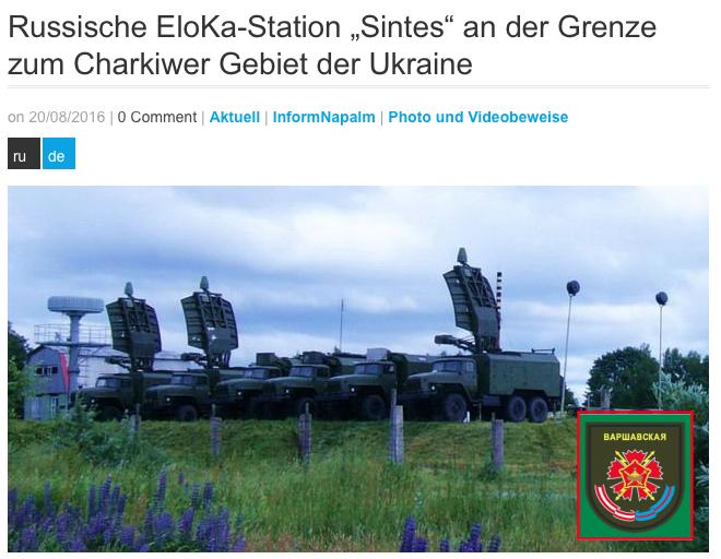"""InfoNapalm - Investigation: Russische EloKa-Station """"Sintes"""" an der Grenze zum Charkiwer Gebiet der Ukraine"""