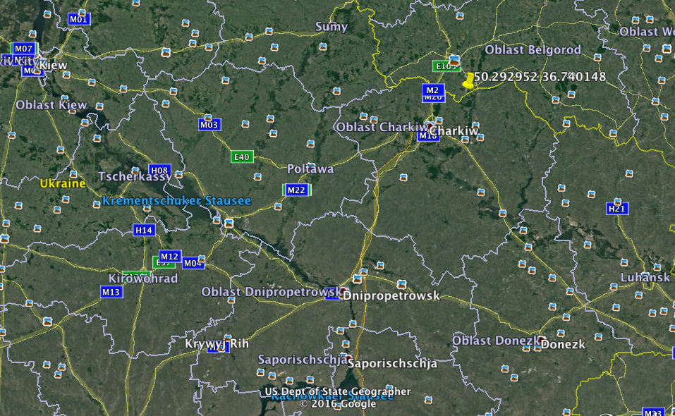 "Position of Russian EloKa-Station ""Sintes"""