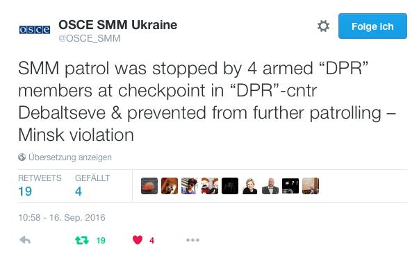 OSCE-SMM Ukraine-Meldung von 10:58 - 16. Sep. 2016