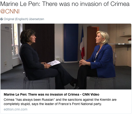 Le Pen: There was no invasion of Crimea
