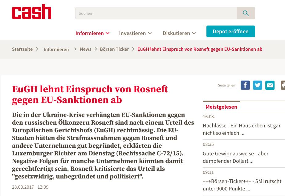 EuGH lehnt Einspruch von Rosneft gegen EU-Sanktionen ab