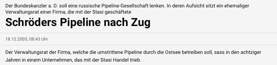 Schröders Pipeline nach Zug
