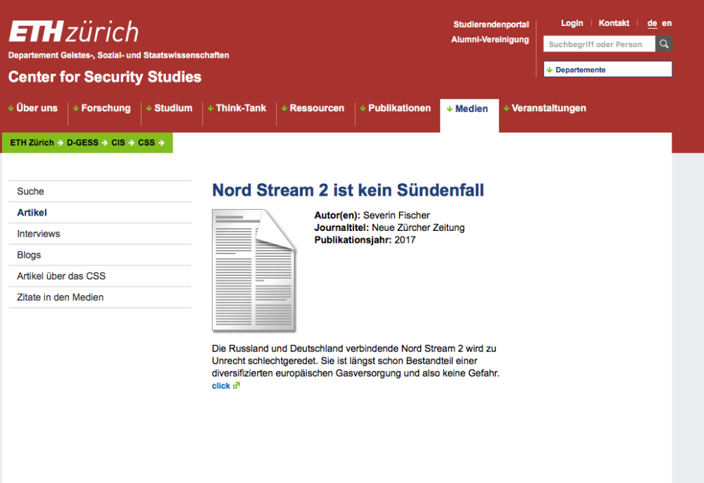 Screenshot from homepage of CSS ETH Zürich