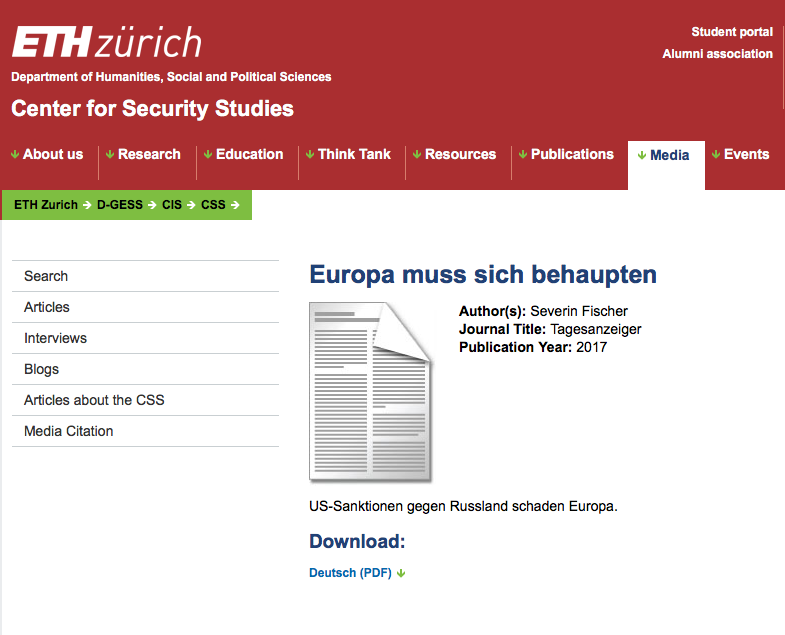 Screenshot Homepage CSS ETH Zürich