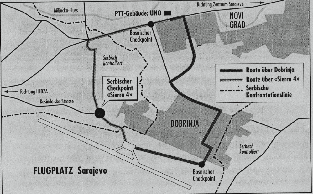 Situation map of the hostage taking on the illegal Chepoint Sierra 4, picture: Archive by Simon Gerber