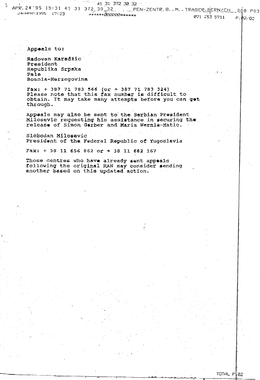 Letter from PEN to Karadzic Page 2
