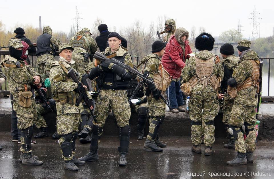 Auf dem Foto: Terroristen sind in Slavyansk