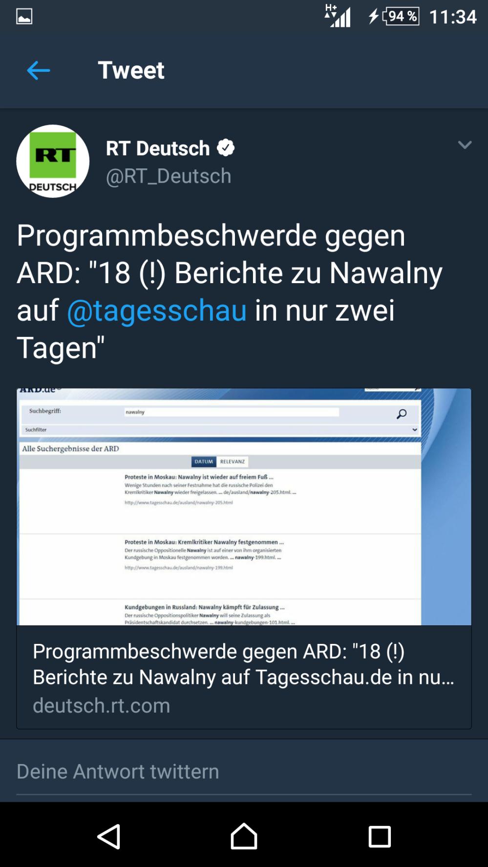 Russia Today bewirtschaftet aktiv das Instrument Programmbeschwerden gegen die ARD