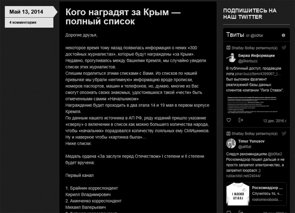 List of 300 Russian journalists who have written about the Crimean occupation in a Russia-friendly way